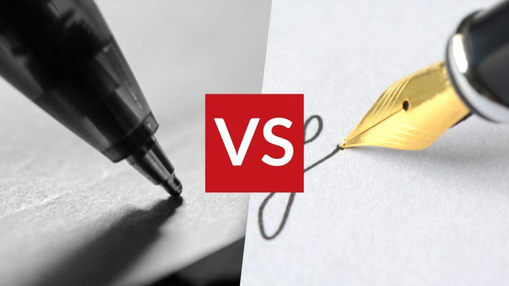 Bolígrafo vs pluma fuente